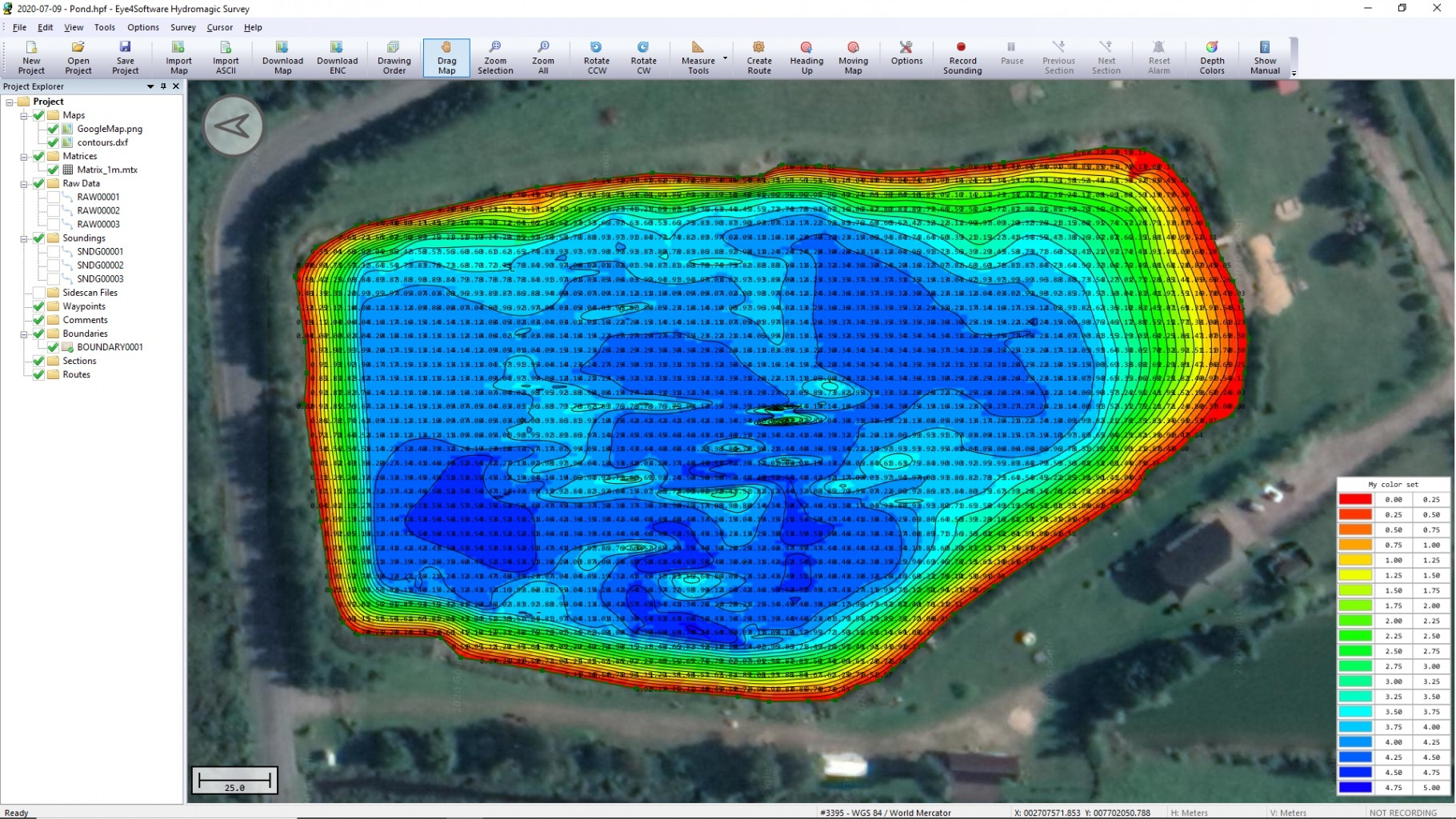 Colored depth map, bathymetric survey by drone equipped with echo sounder